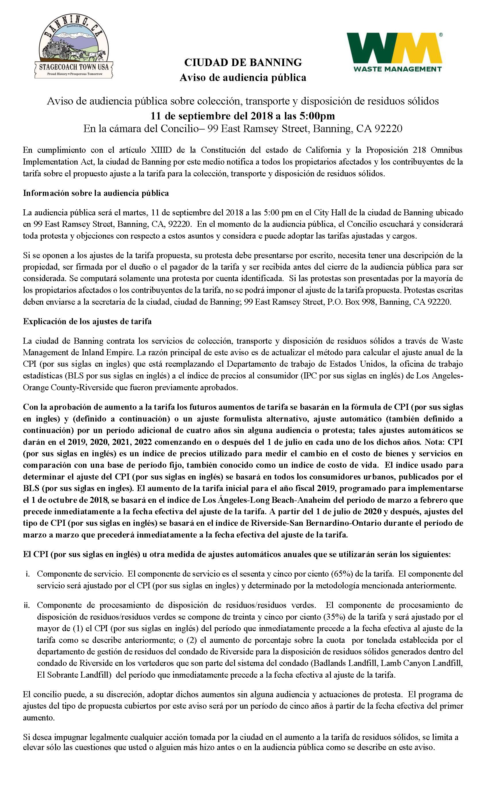 Spanish Prop 218 Notification